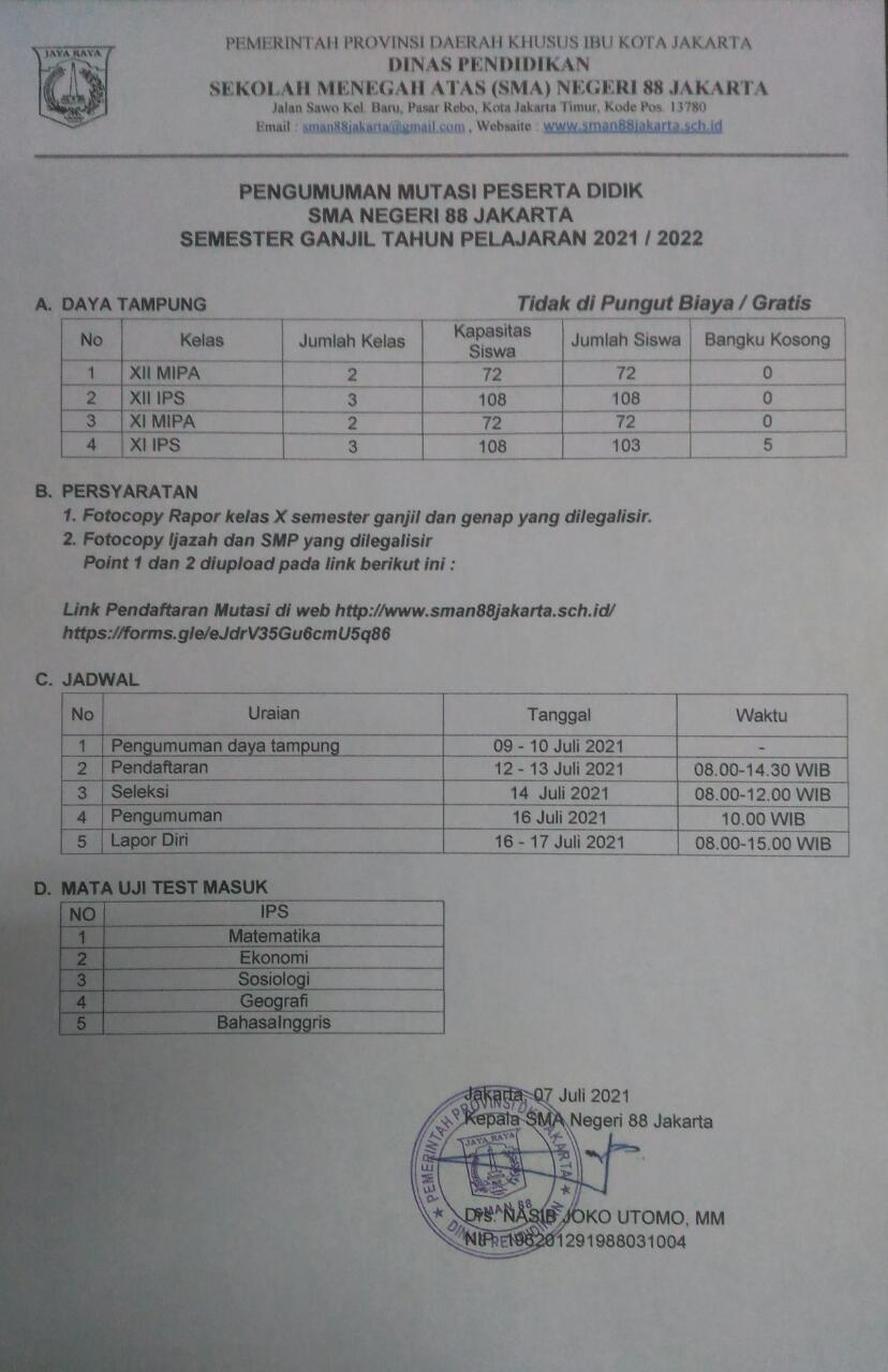 PENGUMUMAN MUTASI SMAN 88 JAKARTA 2021 / 2022
